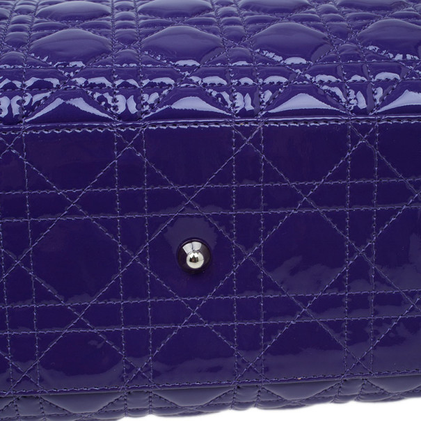 Dior Purple Soft Patent Leather Large Shopping Tote