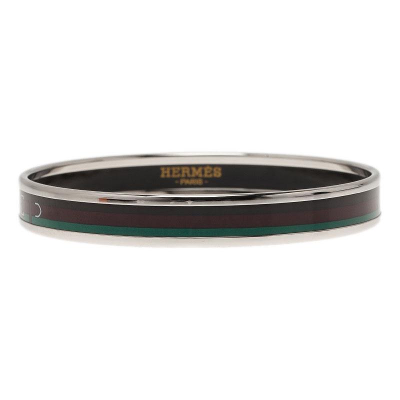 Hermes Narrow Printed Belt Design Multi Color Silver-Plated Bangle Bracelet