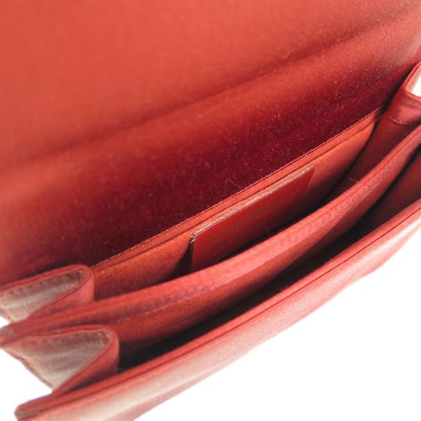 Salvatore Ferragamo Red Satin Flap Shoulder Bag