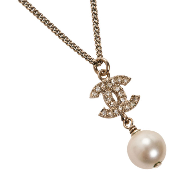 Chanel CC Crystal Logo Dangle Pearl Necklace