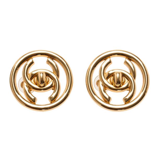 Chanel CC Turnlock Logo Round Clip Earrings