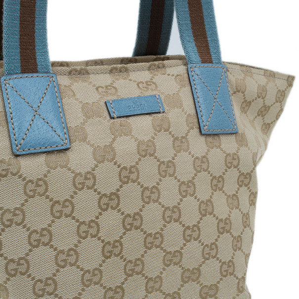 Gucci Original GG Blue Canvas Web Tote