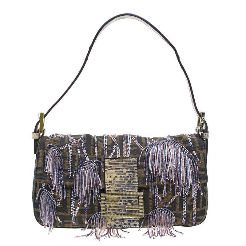 Fendi Zucca Python and Canvas Baguette Beads Shoulder Bag