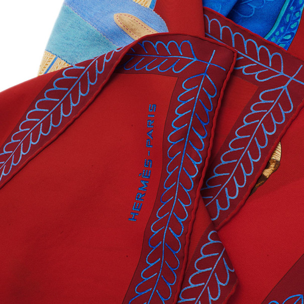 Hermes Red Selle D'officier en Grande Tenue Square Silk Scarf