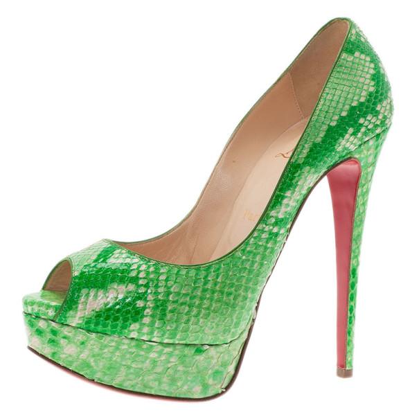 Christian Louboutin Green Python Lady Peep Toe Platform Pumps Size 37.5