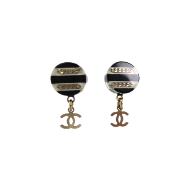 Chanel Black and White Resin Stud CC Charm Earrings