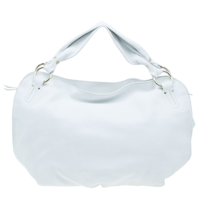 Celine White Leather Large Bittersweet Hobo