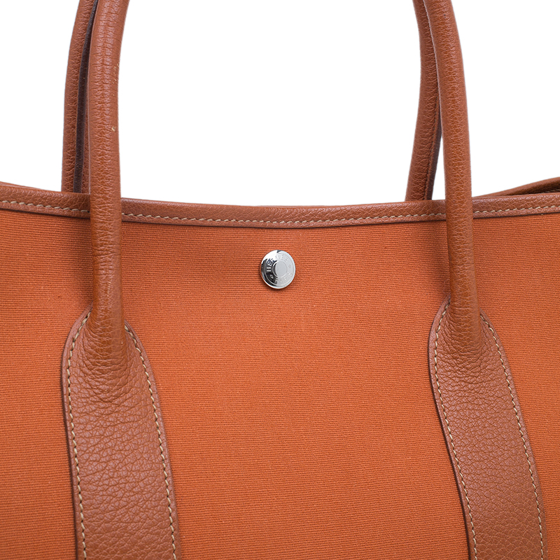 Hermes Orange Canvas/Leather Garden Party MM Tote Bag
