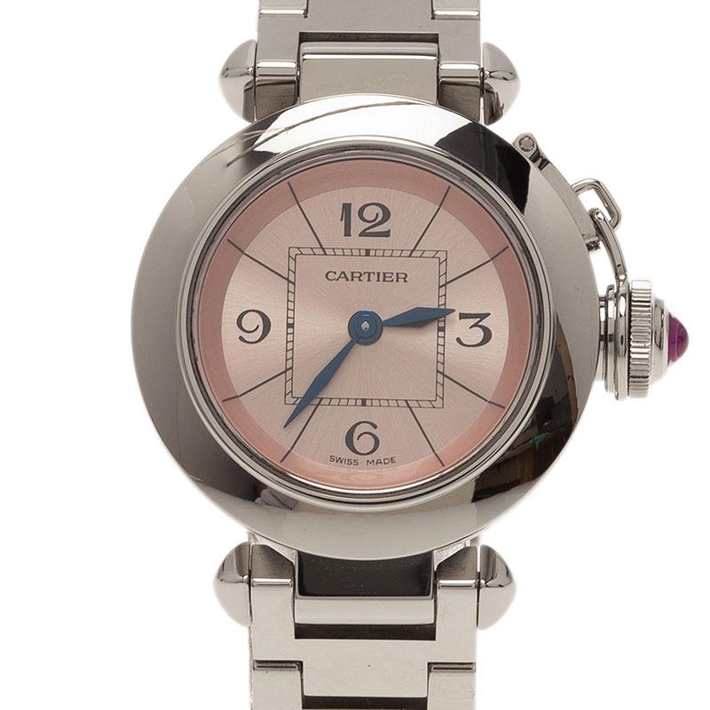 Cartier Pink Stainless Steel Miss Pasha Women's Wristwatch 27MM