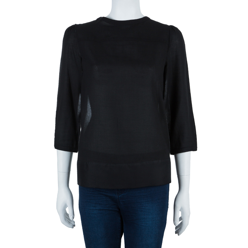 Diane von Furstenberg Black Silk Top M