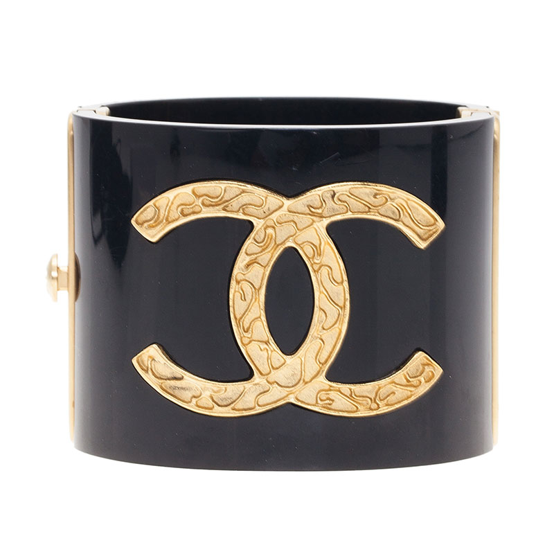 Chanel CC Ornate Black Resin Bangle Bracelet
