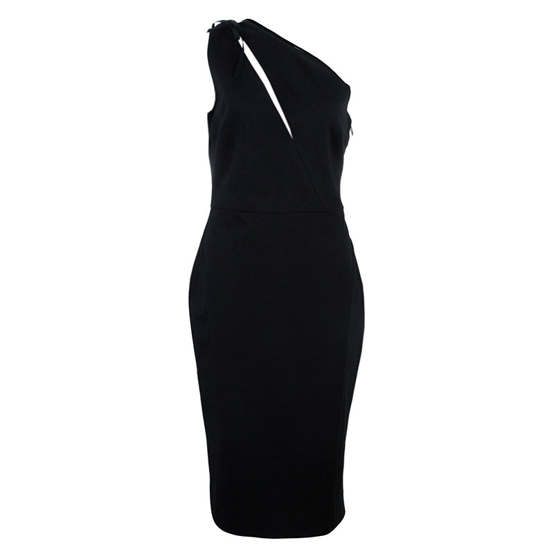 Balmain Black One Shoulder Fitted Dress L