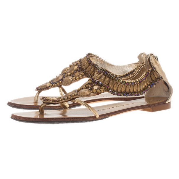 Giuseppe Zanotti Gold Leather Jeweled Flat Thong Sandals Size 39