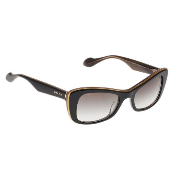 Miu Miu Black and Gold Rectangle Sunglasses