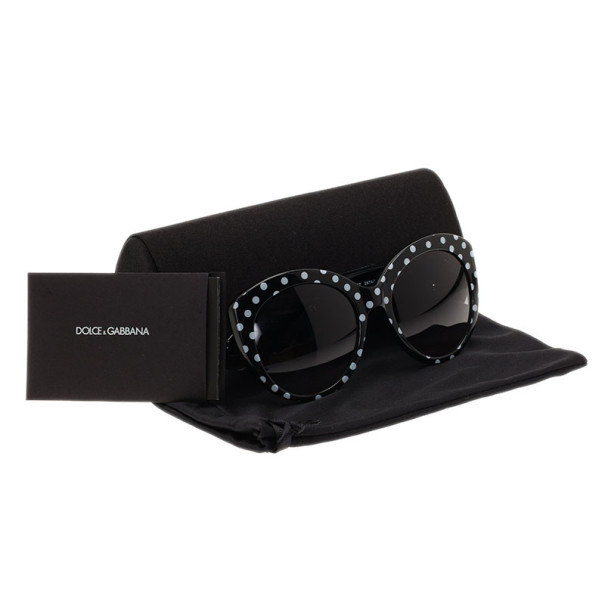 Dolce and Gabbana Black Polka Dot Cat Eye Sunglasses