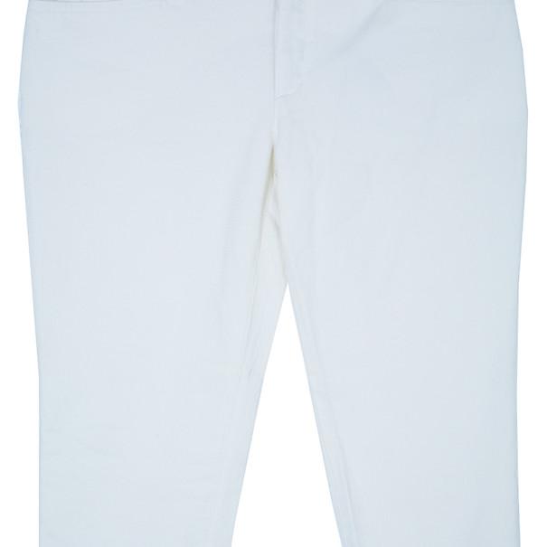 Gucci White Tapered Buckle Hem Denim Trousers L