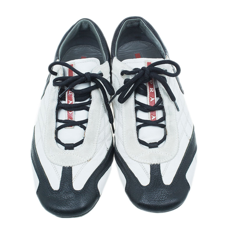 Prada Sport White and Black Leather Sneakers Size 40