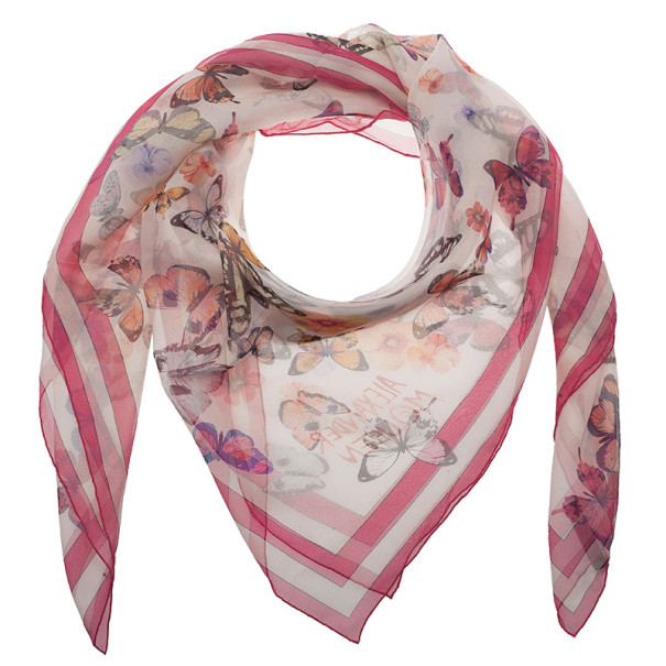 Alexander McQueen Butterfly and Lion Print Square Scarf