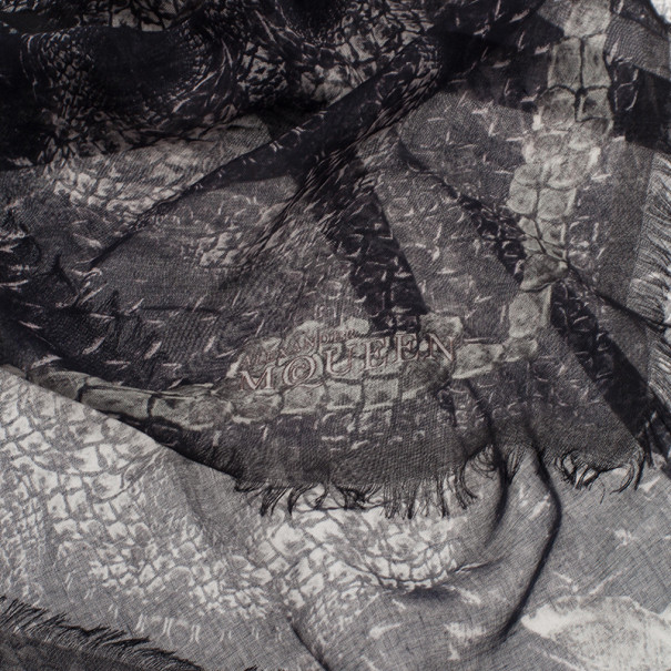 Alexander McQueen Black Morphing Python Square Scarf