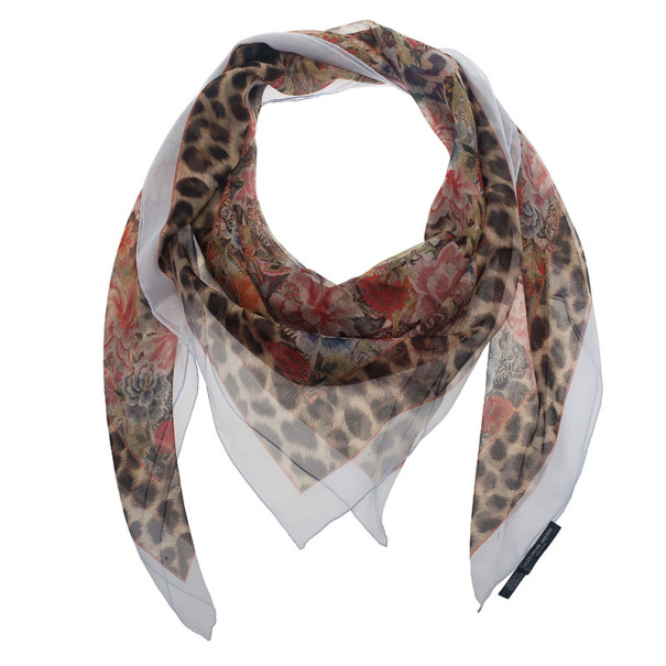 Alexander McQueen Floral and Leopard Print Square Scarf