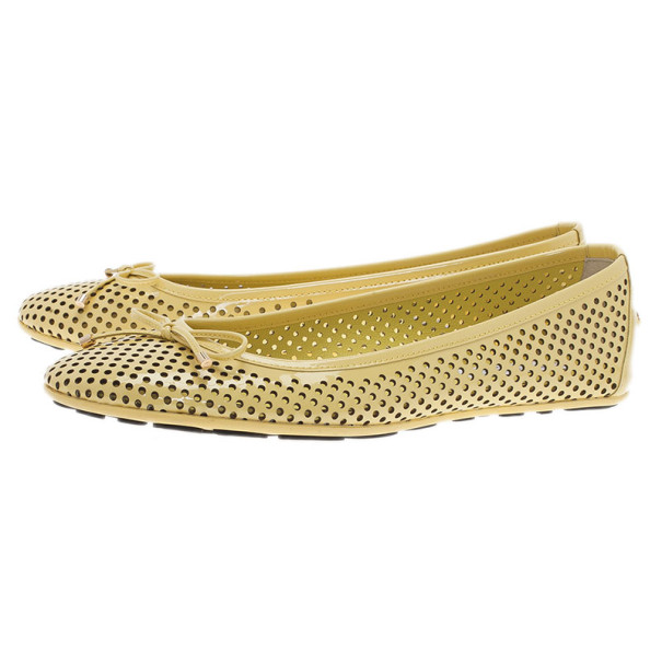 Jimmy Choo Yellow Patent Walsh Ballet Flats Size 38