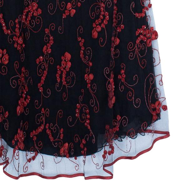 Valentino Black/Red Embellished Top And Skirt Set M