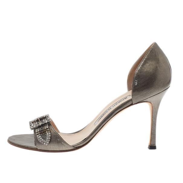 Manolo Blahnik Grey Metallic Leather Crystal Buckle Dorsay Pumps Size 38