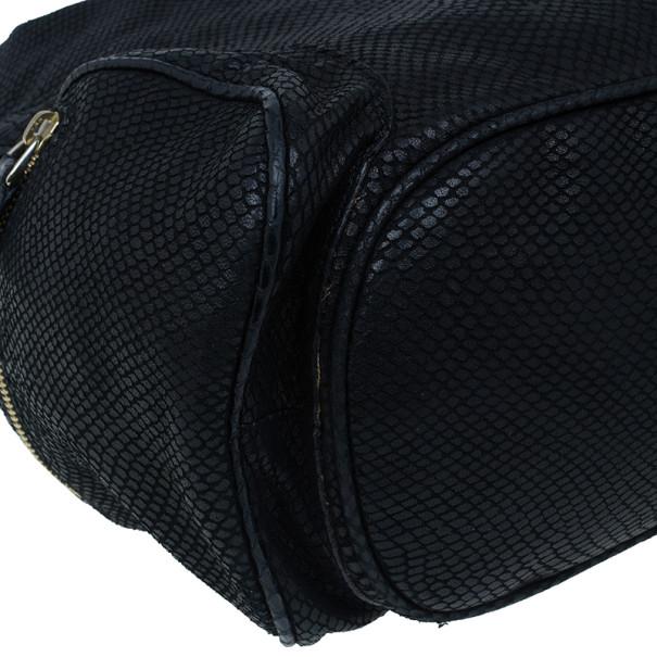 Jimmy Choo Black Leather Embossed Ramona Bucket Tote