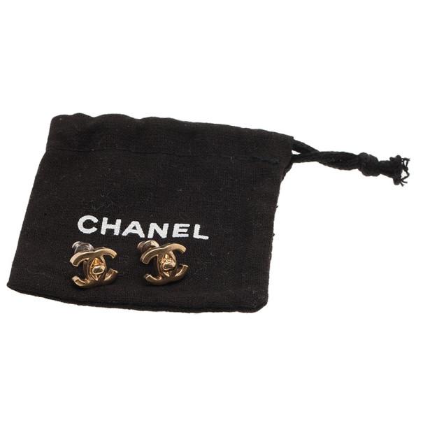 Chanel CC Turnlock Gold-Tone Mini Studs Earrings