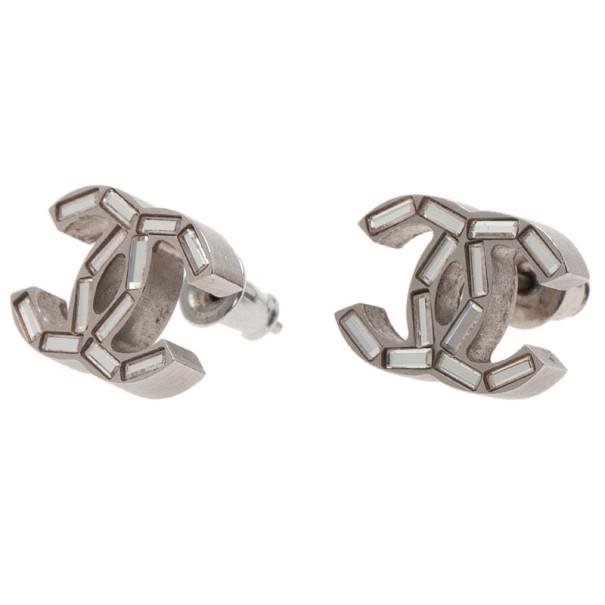 Chanel CC Logo Baguette Shape Crystal Earrings