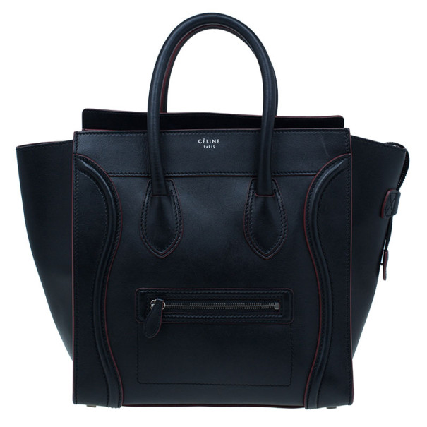 Celine Black and Red Trim Leather Mini Luggage Tote