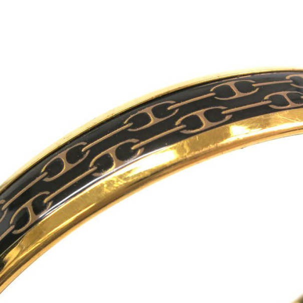 Hermes Narrow Black Gold Printed Enamel Bracelet