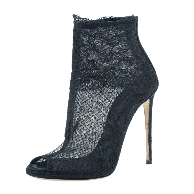Dolce and Gabbana Black Lace Ankle Booties Size 37