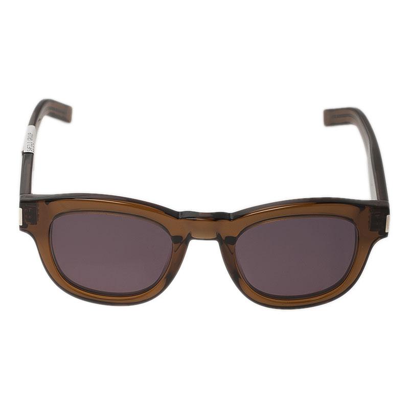 Saint Laurent Paris Brown Bold K7M Round Sunglasses