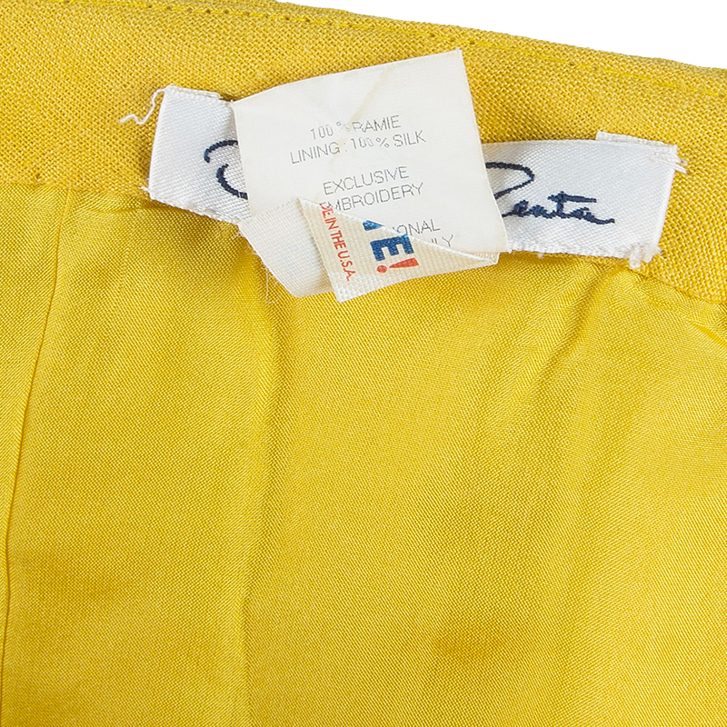 Oscar de la Renta Yellow Strapless Linen Shift Dress M