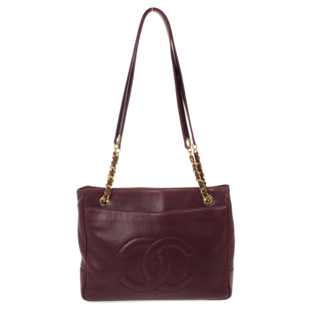 Chanel Vintage Maroon Caviar Leather Tote Shoulder Bag