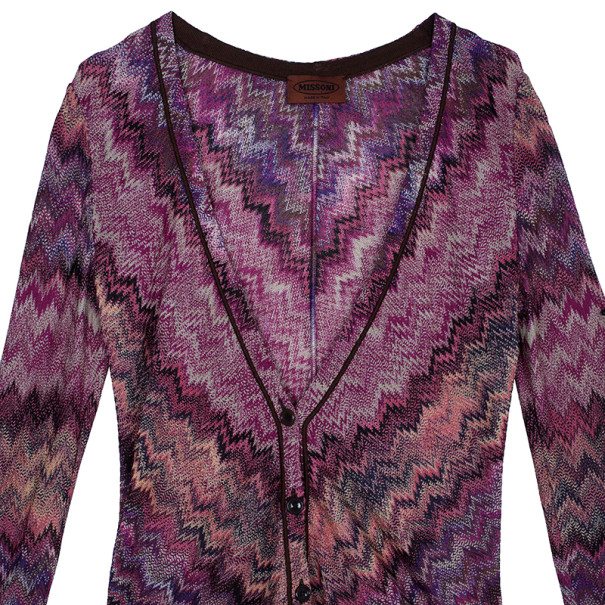 Missoni Pink Zig-Zag Knit Cardigan S