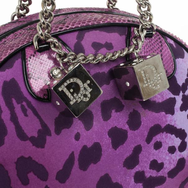 Christian Dior Purple Canvas and Python Gambler Handbag
