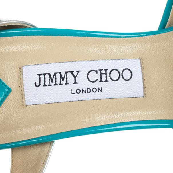 Jimmy Choo Blue Patent Leather Lolita Platform Sandals Size 39