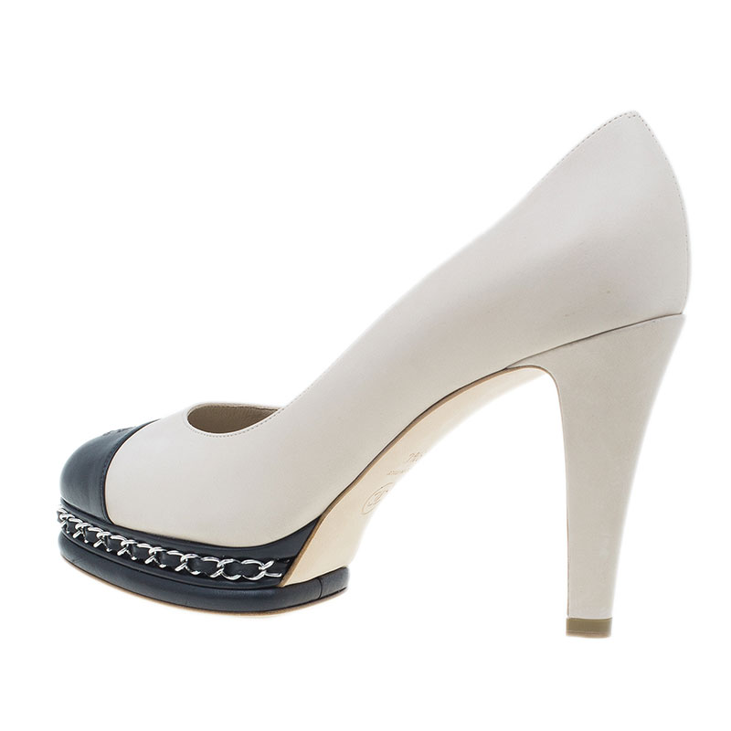 Chanel Beige Leather CC Cap Toe Chain Detail Platform Pumps Size 39.5