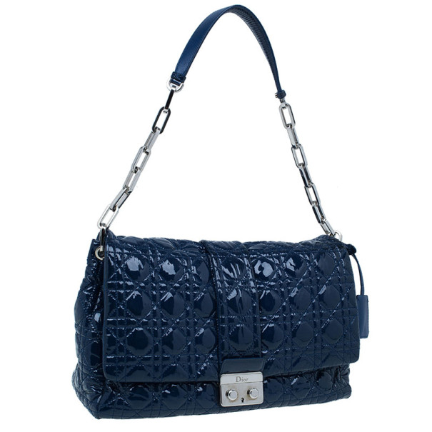 Dior Navy Blue Patent Leather Large Miss Dior Flap Bag