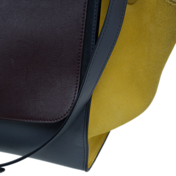 Celine Tricolor Smooth Calfskin and Suede Medium Trapeze Tote