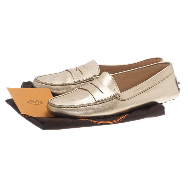 Tod's Gold Leather 'Gommini' Penny Loafers Size 39