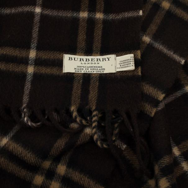 Burberry Brown Novacheck Cashmere Scarf