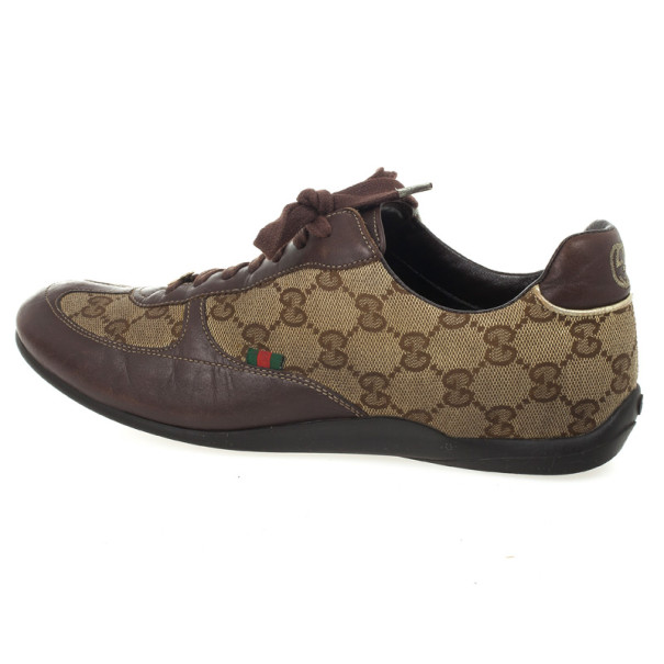 Gucci Brown Guccissima Lace Up Sneakers Size 38