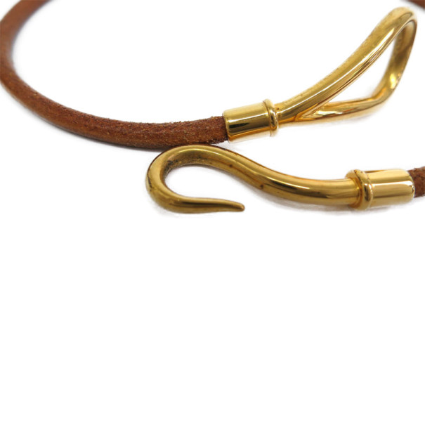 Hermes Jumbo Choker Brown Leather