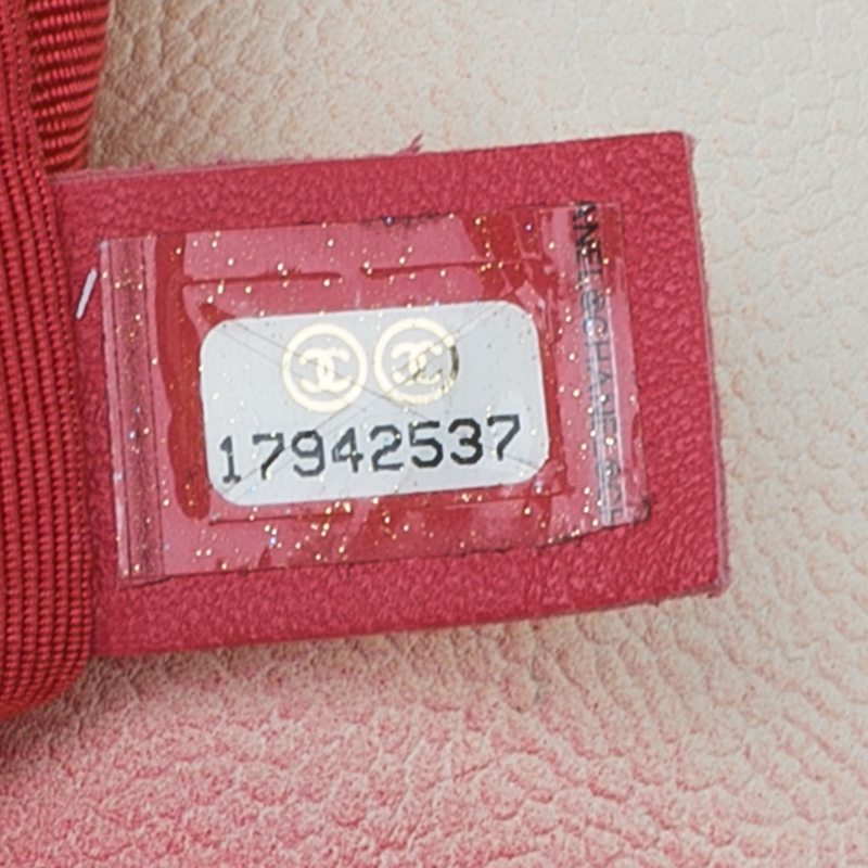 Chanel White/Red Quilted Caviar Leather Jumbo Ombre Single Flap Bag