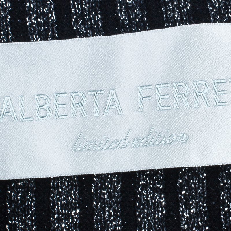 Alberta Ferretti Black Metallic Ribbed Top S