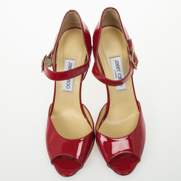 Jimmy Choo Red Patent Lace Peep Toe Mary Jane Pumps Size 41