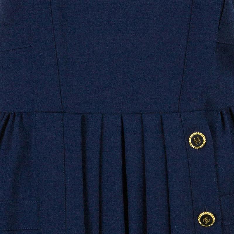 Chanel Navy Tweed Midi Dress L